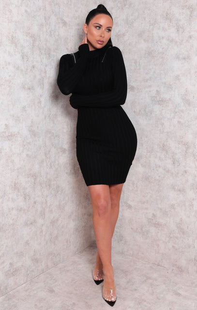Black Ribbed High Neck Long Sleeve Bodycon Midi Dress - Tina