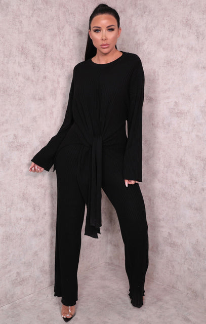 Black Ribbed Knitted Crew Neck Leggings Loungewear Set - Nancy