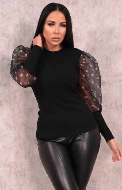 Black Ribbed Mesh Polka Dot Organza Sleeve Top - Eloise
