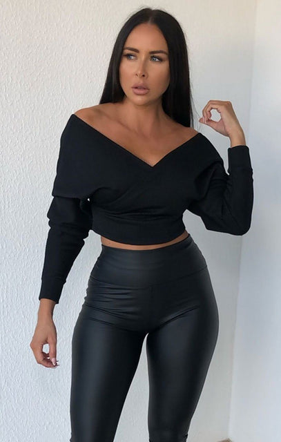 Black Ribbed Off The Shoulder Crop Top - Kourt