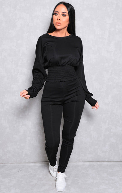 Black Ribbed Shrilled Waist Loungewear Set - Talia