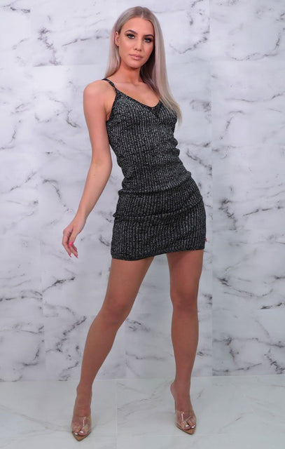 Black Ribbed Strappy Metallic Plunge Bodycon Mini Dress - Mellissa