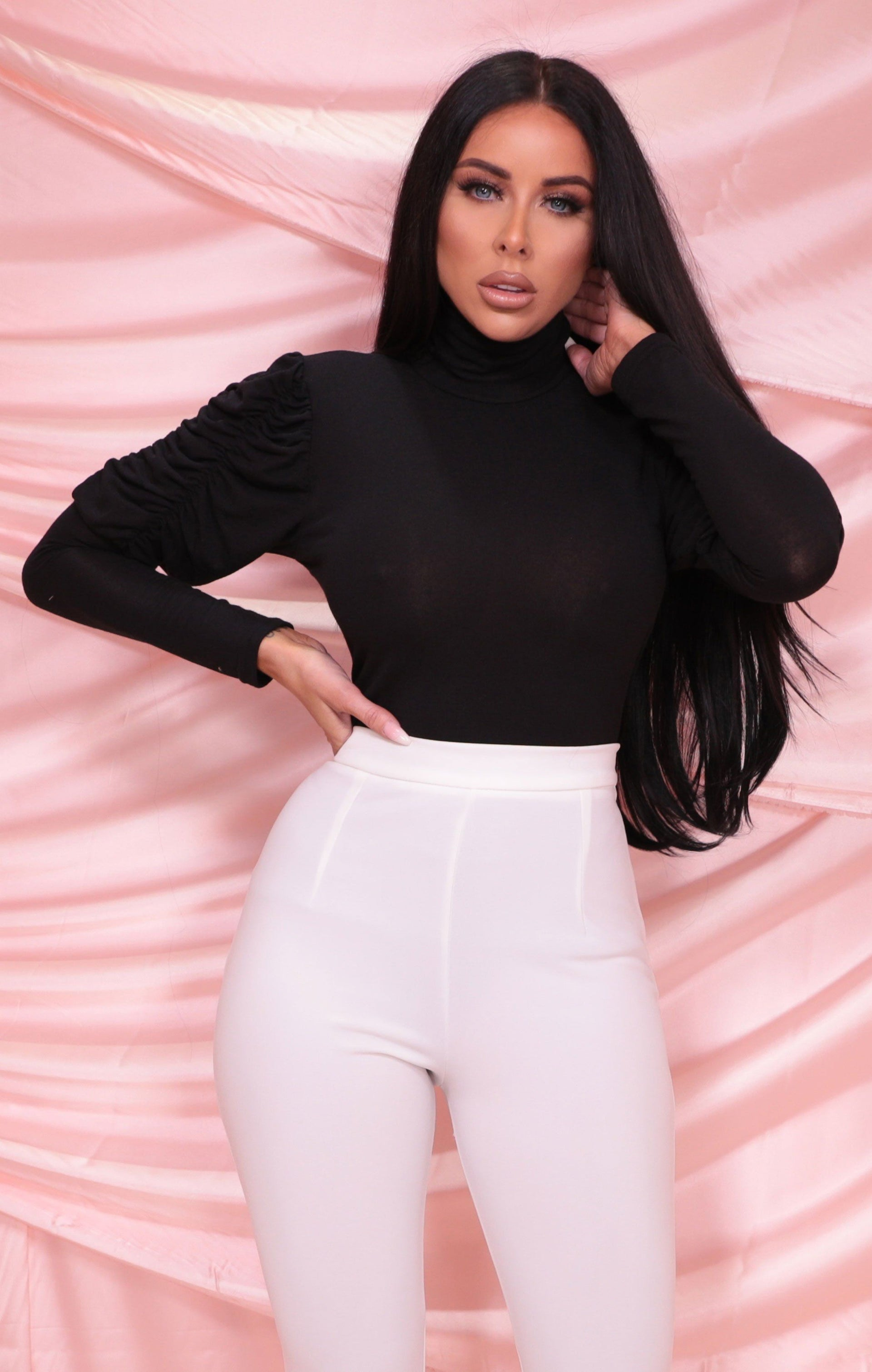 Black Ruched Puff Sleeve High Neck Fitted Top - Alyssa