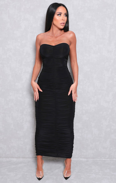 Black Ruched Strapless Bodycon Midi Dress - Vita