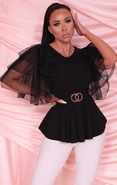 Black Ruffle Frill Mesh Sleeve Double Circle Belt Top - Olwen