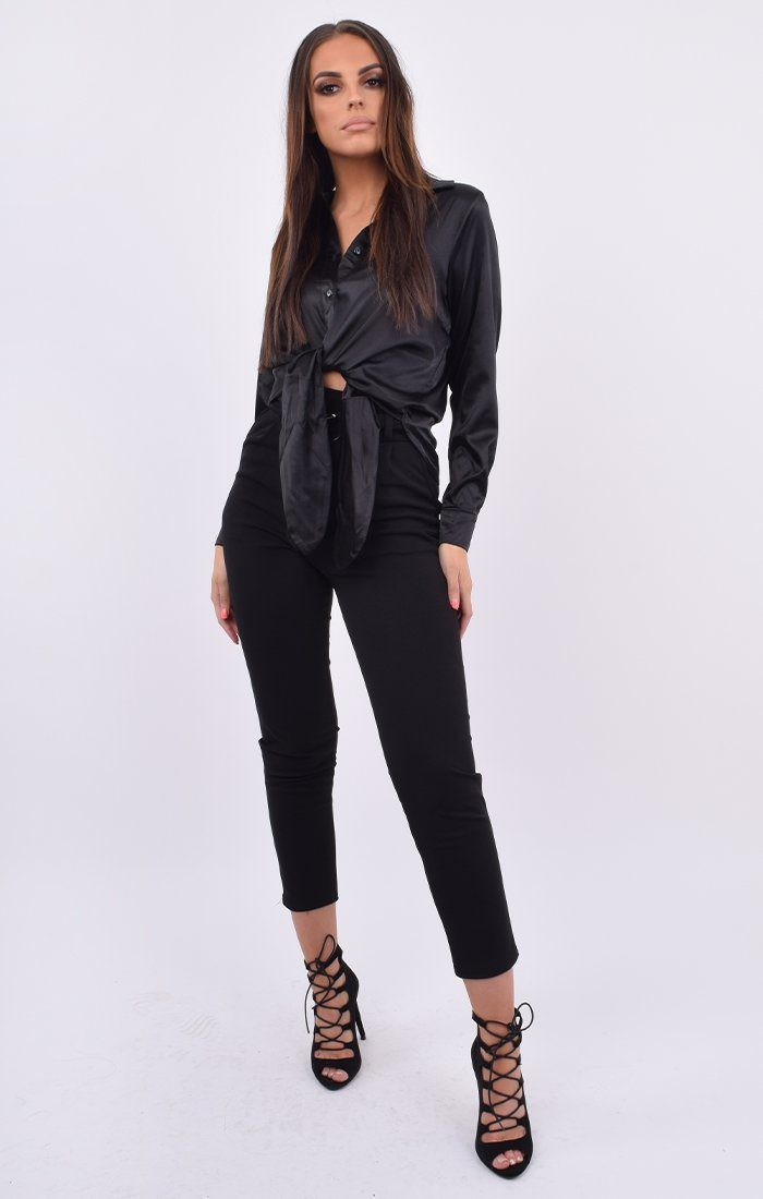Black Satin Button Up Tie Front Shirt - Jaymee