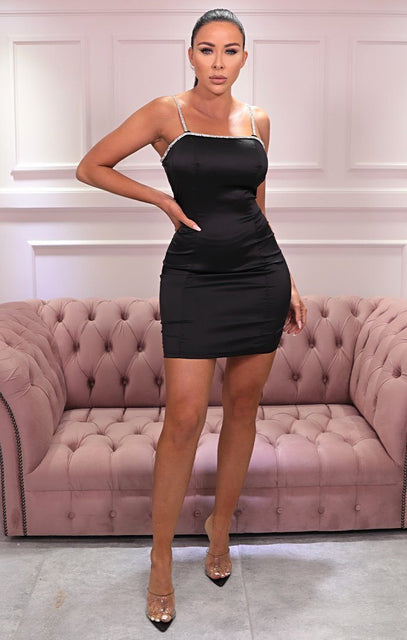 Black Satin Diamante Strap Bodycon Mini Dress - Maria