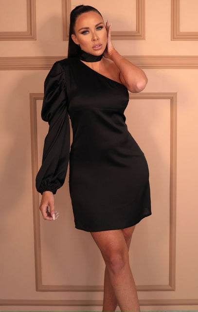Black Satin High Neck Bodycon Mini Dress - Abner