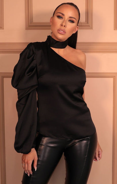 Black Satin High Neck One Shoulder Sleeve Top - Tommi