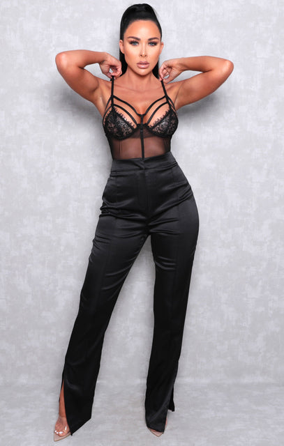 Black Satin High Waisted Wide Leg Trousers - North
