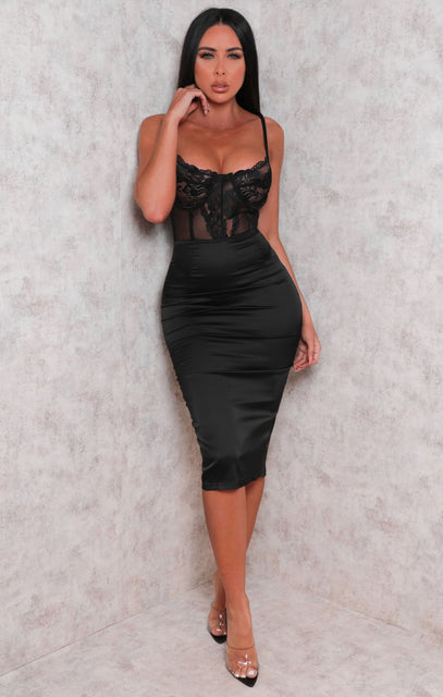 Black Satin Lace Underwire Corset Midi Dress - Holly