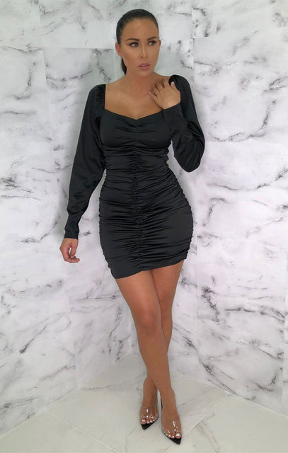 Black Satin Long Sleeve Mini Dress - Eletra