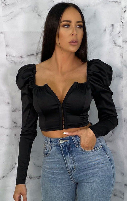 Black Satin Puff Sleeve Corset Top - Gracelynn