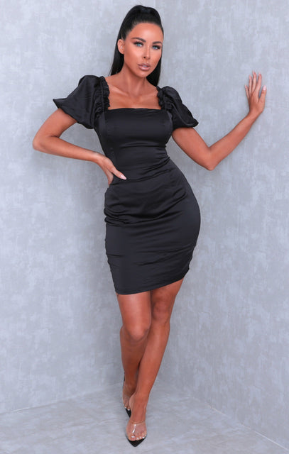 Black Satin Puff Sleeve Square Neck Mini Dress - Juliane