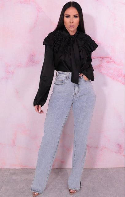 Black Satin Shrilled Frill Long Sleeve Top - Zaynab