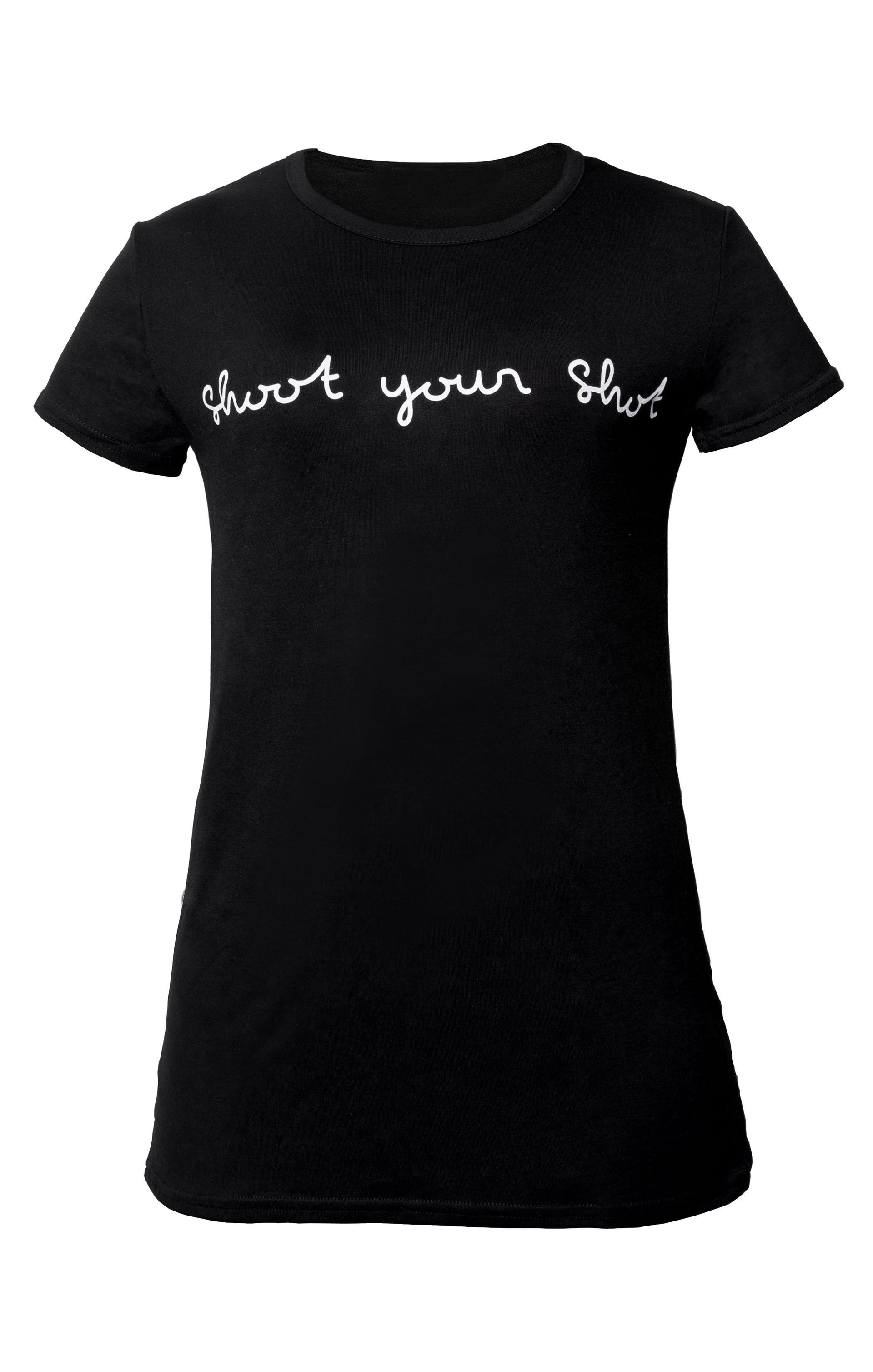 Black 'Shoot Your Shot' Slogan Print Crew Neck T-Shirt - Cordelia
