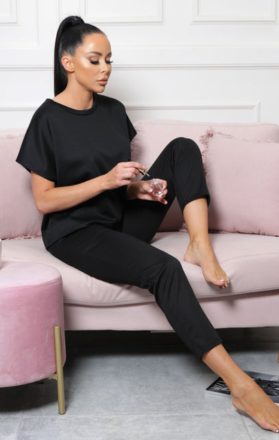 Black Short Sleeve Boxy Loungewear Set - Lacy