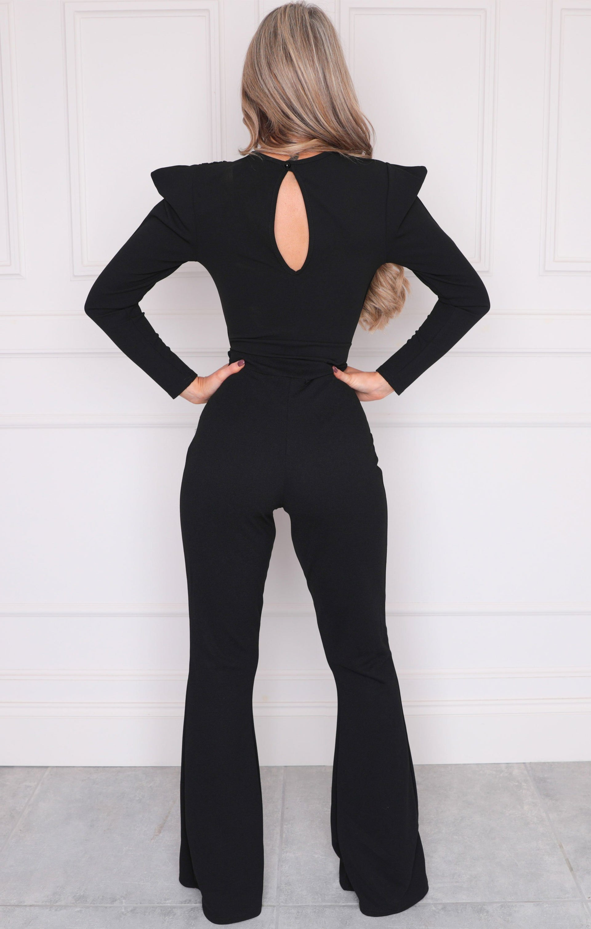 Black Shoulder Pads Cut Out Bodysuit - Effie