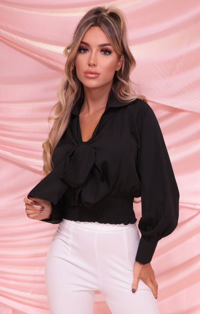 Black Shrilled Waist Cuffed Tie Front Top - Balin