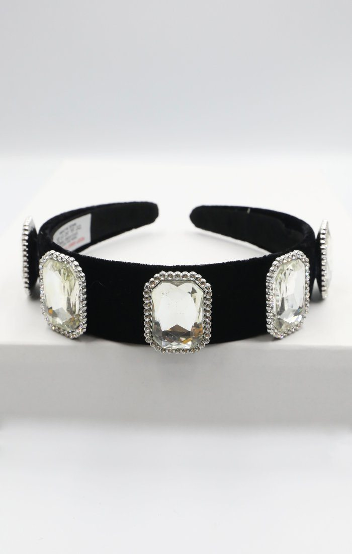 Black Silver Gem Headband - Raven