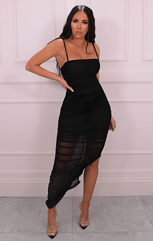 Black Slinky Split Dresses