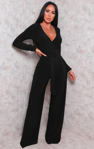 Black Plunge Jumpsuits