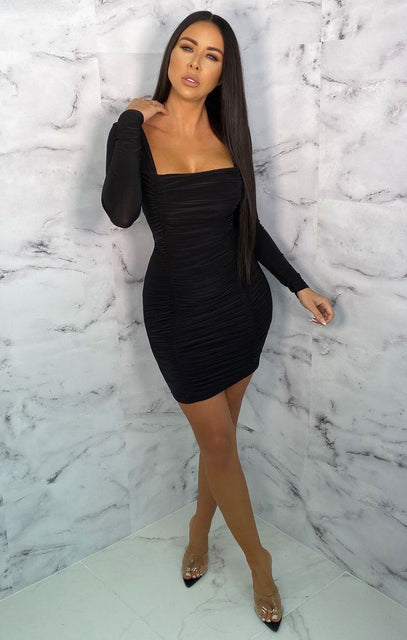 Black Square Neck Ruched Bodycon Mini Dress - Gina