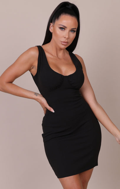 Black Strappy Bust Detail Bodycon Mini Dress - Dominique