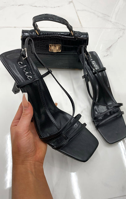 Black Strappy Square Toe Low Heels - Talia