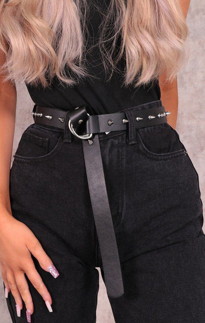 Black Studded Faux Leather D-Ring Belt - Kelly