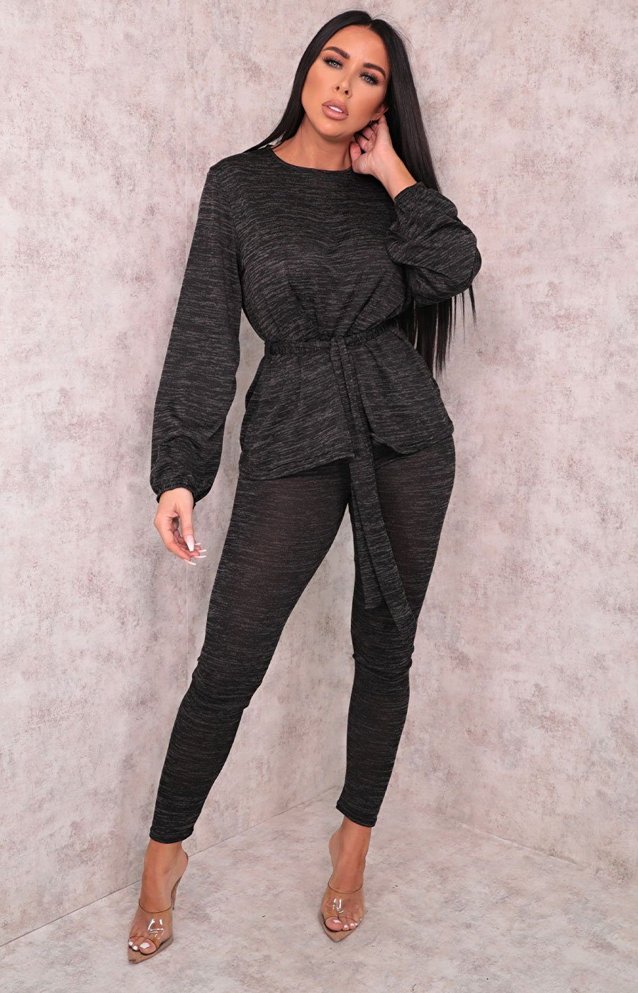 Black Tie Front Cuffed Sleeve Leggings Loungewear Set - Eliza