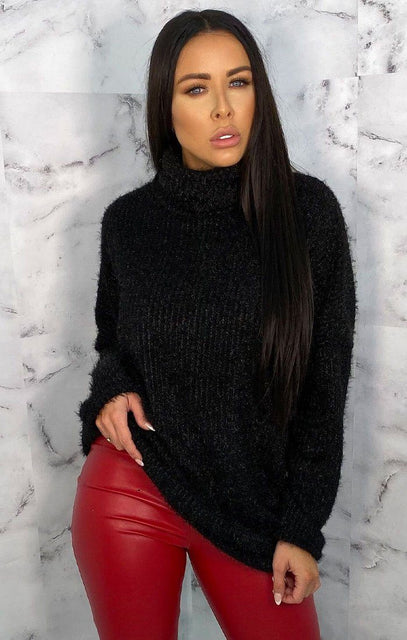 Black Turtleneck Oversized Fluffy Long Line Jumper - Mary