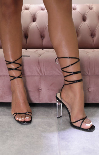 Black Vinyl Lace Up Clear Perspex Block Heels - Victoria