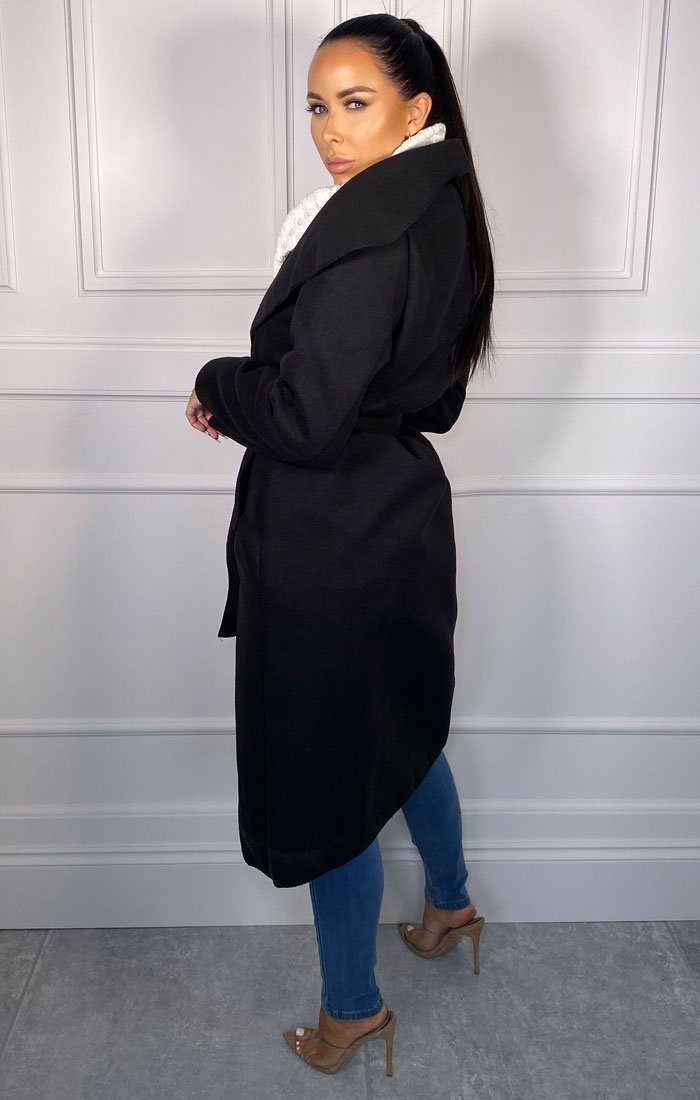 Black Waterfall Duster Belted Long Coat