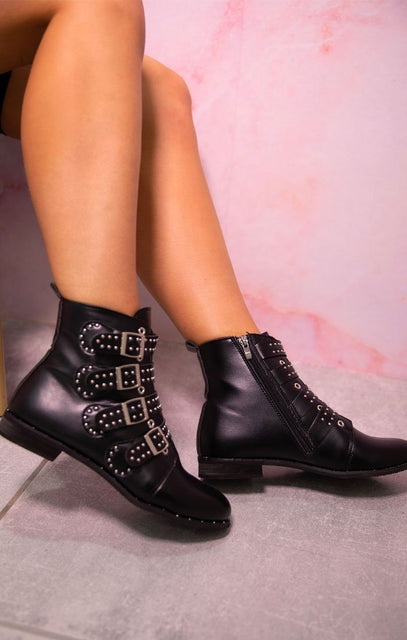 Black Western Buckle Ankle Boots - Antoni