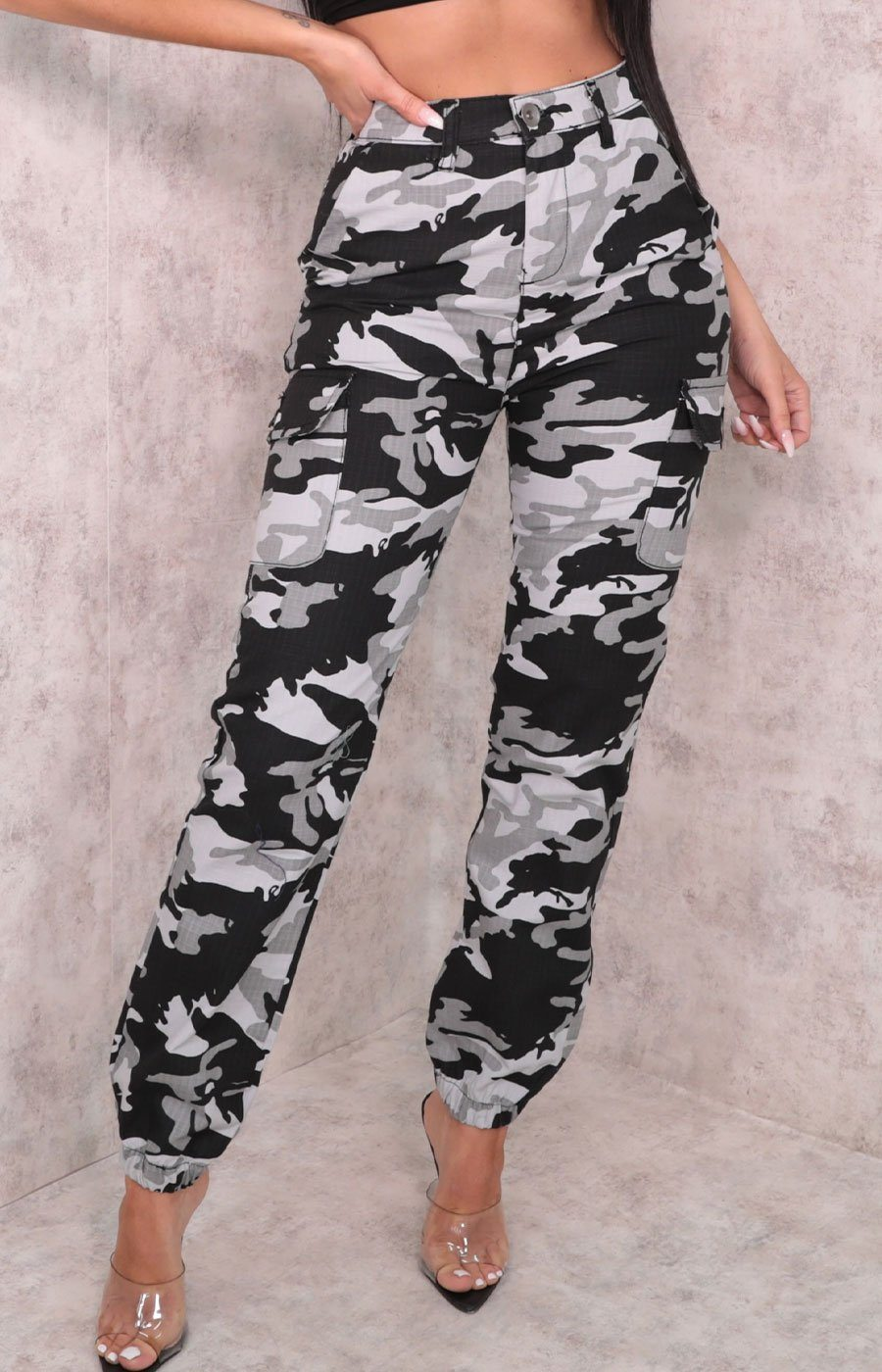 Black & White Camo Print Elasticated Trousers - Casandra