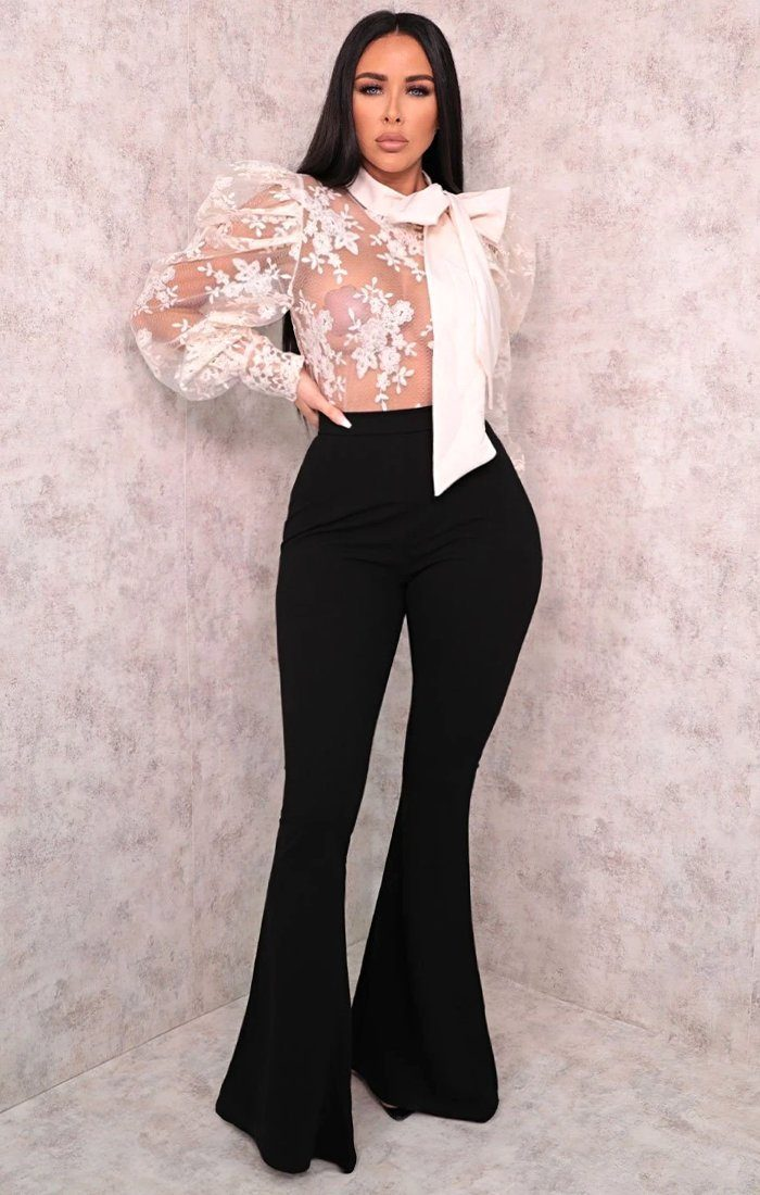 Black Wide Leg Flare High Waisted Trousers - Hallie