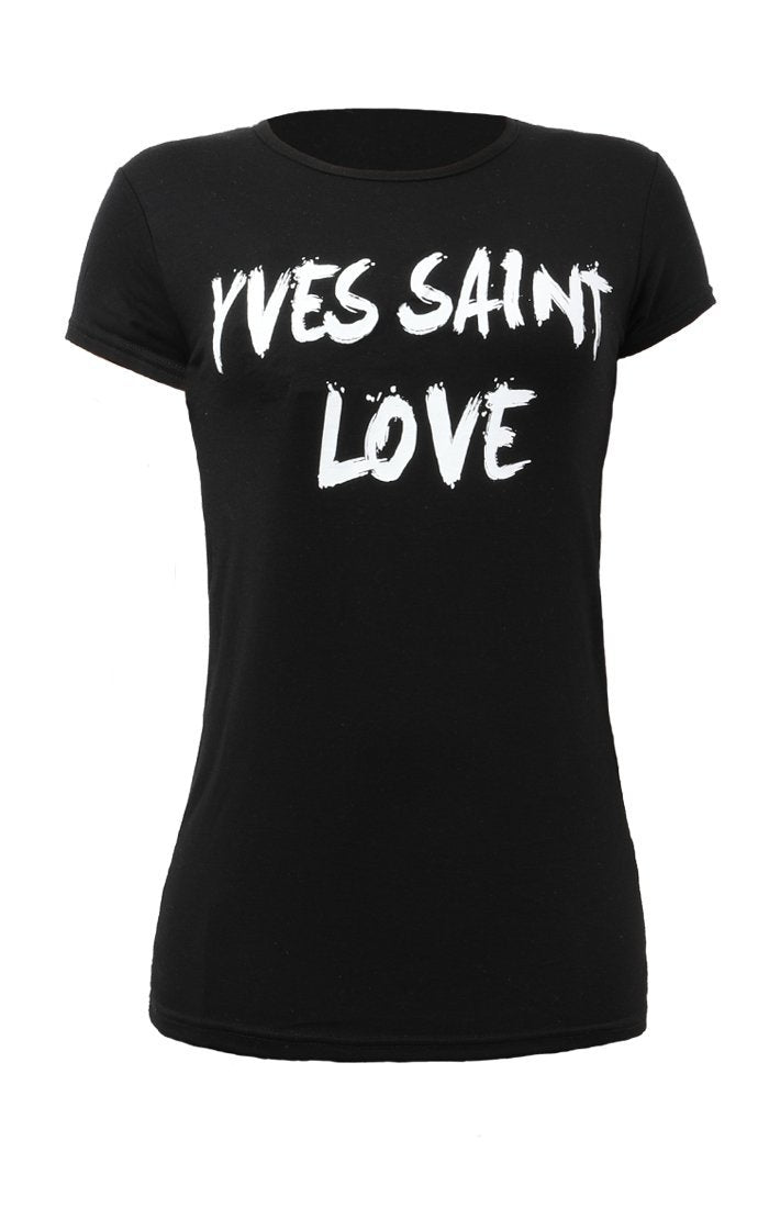 Black Yves Saint Love Graphic Print Slogan Tee - Karla
