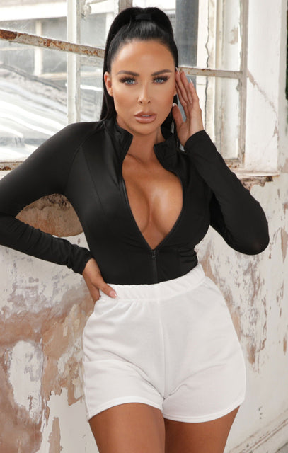 Black Zip Up Long Sleeve Bodysuit - Zeta
