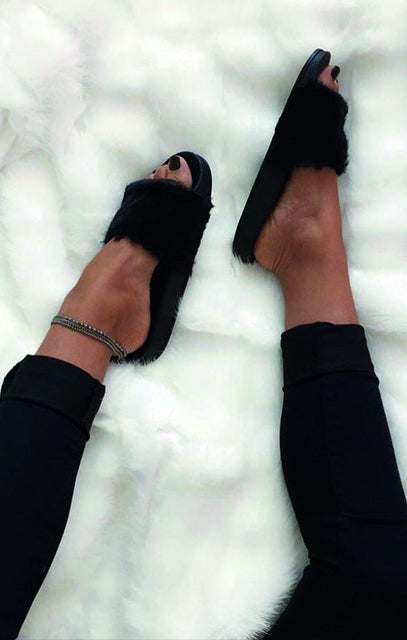 Black Soft Faux Fur Sliders