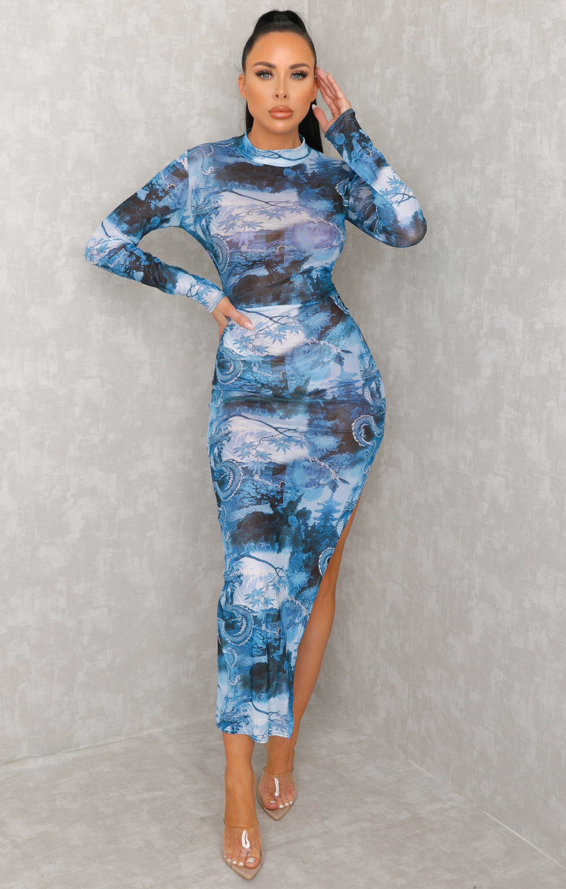 Blue Chinese Print Mesh Bodycon Midaxi Dress - Vivienne