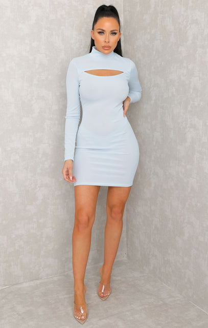 Blue Cut Out High Neck Bodycon Mini Dress - Samantha