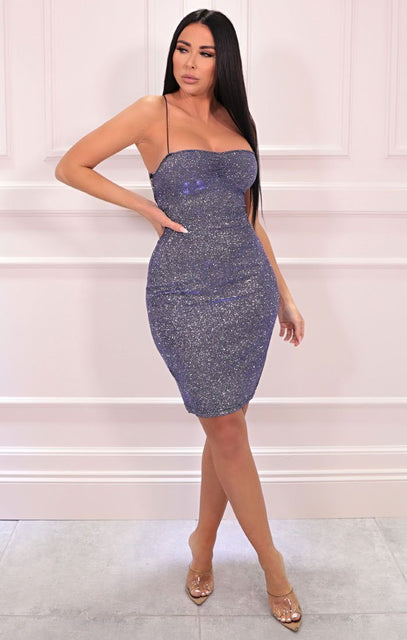 Blue Glitter Cross Back Bodycon Mini Dress - Karen
