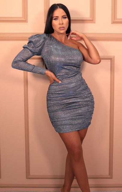 Blue Glitter One Shoulder Puff Sleeve Bodycon Mini Dress - Adesina