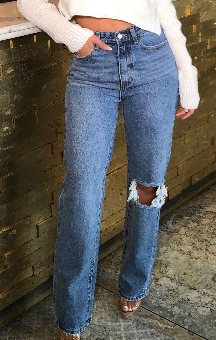 Blue Mid Wash Ripped Knee High Waisted Jeans - Ennis