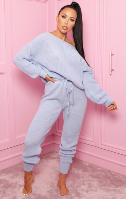 Blue Off The Shoulder Knitted Loungewear Set - Alisa