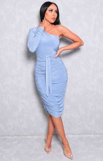 Blue One Shoulder Ruched Slinky Midi Dress - Savannah