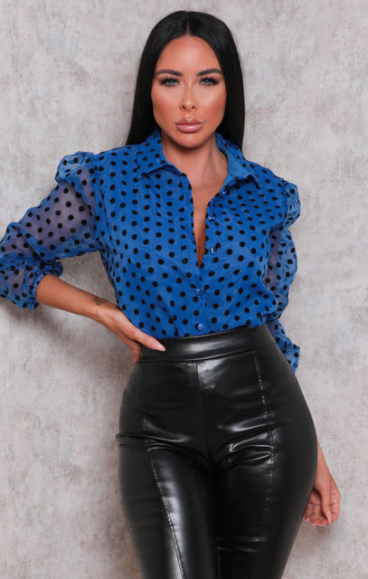 Blue Polka Dot Organza Collar Mesh Top - Sara