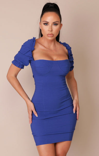 Blue Puff Sleeve Bodycon Mini Dress - Mae
