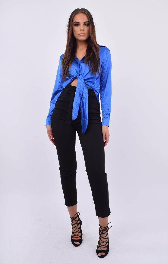 Blue Satin Button Up Tie Front Shirt - Jaymee